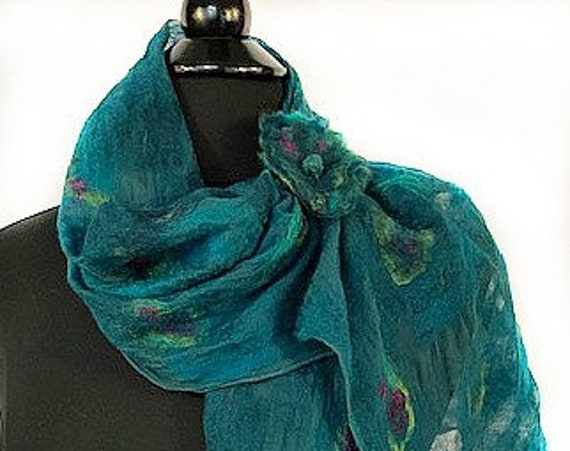 Turquoise Felted Wrap,  Felted Scarf, Nuno felted Wrap, Turquoise + Purple, Wearable Art, GiftforHer, GracefulEweFiberArts: Graceful Peacock