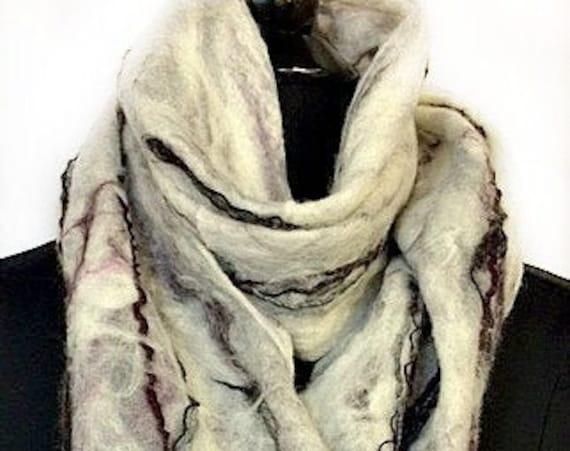 Felted Scarf, Nuno Cobweb Scarf, White, Grey & Burgundy Scarf, Gift For Her, Women's Accessories, Boho Fashion, Graceful Ewe Fiber Arts