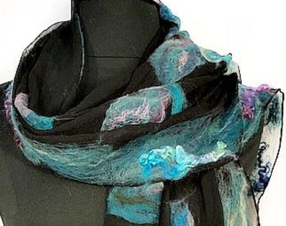 Turquoise and Black Felted Scarf, Silk Wrap, Felted Shawl, Nuno scarf, Fashion Scarf, Giftforher, Wedding Accessories, GracefulEweFiberArts