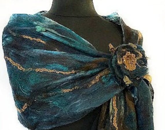 Turquoise and Brown Felted Scarf, Silk Wrap, Felted Shawl, Nuno scarf, Fashion Scarf, Giftforher, Wedding Accessories, GracefulEweFiberArts