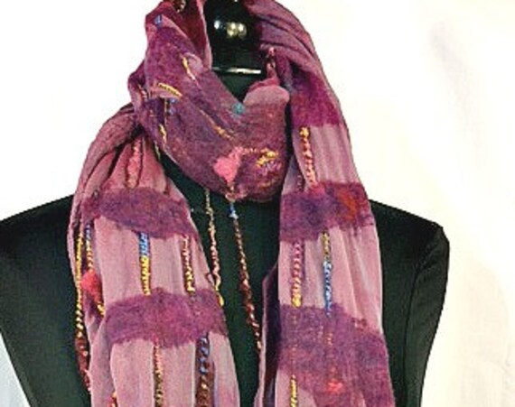 Felted Scarf, Silk Felted Wrap, Multi-colored Shawl, Nuno scarf, Fashion Scarf, Gift for her, Wedding Accessories, Graceful Ewe Fiber Arts