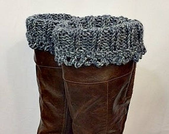 Boot Cuffs, Knit & Crocheted Leg Warmers, Boot Toppers, Boot Socks, Stonewashed Denim, Winter Accessories, Giftforher, GracefulEweFiberArts