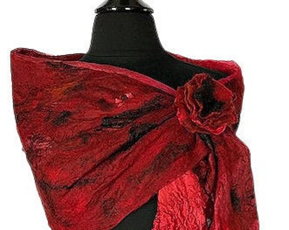 Red & Black felted wrap, Black Red  felted scarf, Nuno felted scarf, Wedding Bridal accessories, Valentines Day gifts, GracefulEweFiberArts