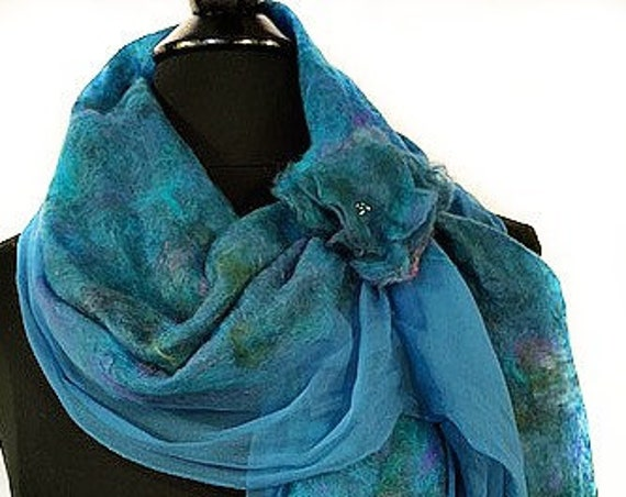 Turquoise Felted Wrap, Silk Felted Scarf, Turquoise + Purple Scarf, Nuno Felted Scarf, GiftForHer, Graceful Ewe Fiber Arts: Seaside Dreams