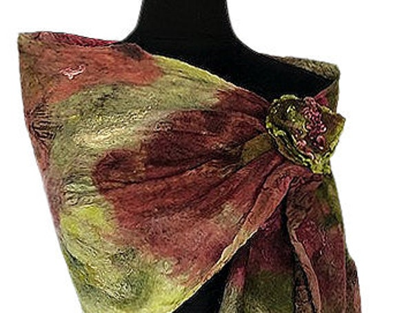 Green & Burgundy Felted Wrap, Felted scarf, Nuno Felted Shawl, Nuno Scarf, Wedding/Bridal Accessories, GracefulEweFiberArts: Zen Garden