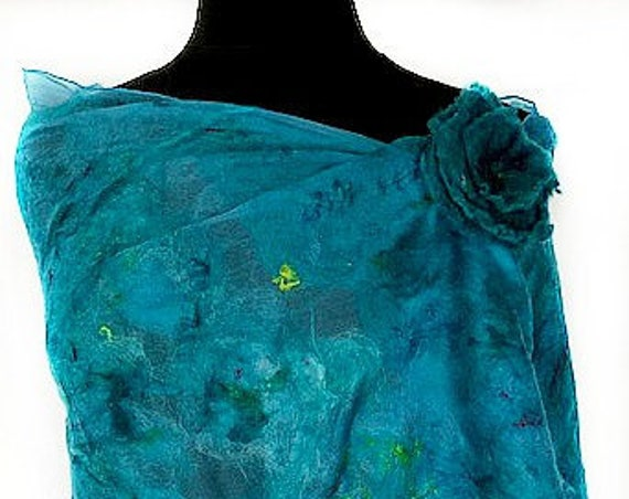 Turquoise Felted Wrap, Silk Felted Scarf, Turquoise + Green Scarf, Nuno Felted Scarf, GiftForHer, Graceful Ewe Fiber Arts: Seaside Dreams