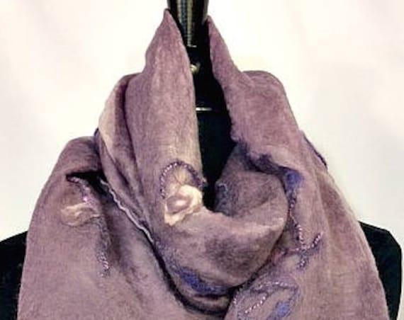 Lavender Felted Wrap, Nuno Felted Shawl, Nuno felt Scarf, Bridal/Wedding Accessories, Silk Scarf, Pale Purple Scarf, Graceful Ewe Fiber Arts