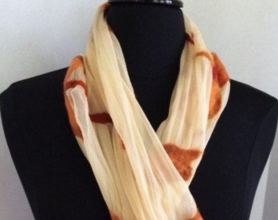 Felted Scarf, Silk Felted Scarf, Off-white scarf, Silk & Wool, Fashion Scarf, Gift for her, Graceful Ewe, Graceful Ewe Fiber Arts: Golde...