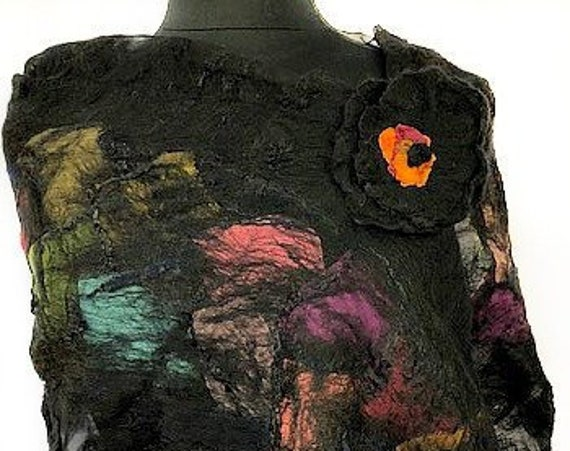 Black Felted Scarf, Multi-colored Felted Silk Scarf, GiftForHer, Nuno felted Scarf, Felted Wrap, Graceful Ewe Fiber Arts: Festival of Color