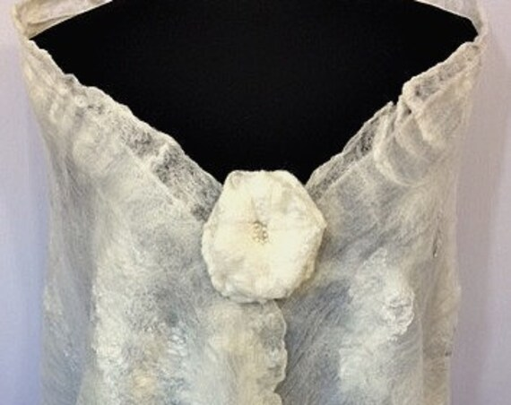 Felted Bridal Shawl, Silk Felted Bridal Wrap, Nuno Felted Wrap, Bridal Shawl/Scarf, Bridal Accessories, Beach Wedding, GracefulEweFiberArts