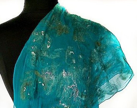 Turquoise Felted Wrap, Silk Felted Scarf, Turquoise + Pink Scarf, Nuno Felted Scarf, GiftForHer, Graceful Ewe Fiber Arts: Seaside Dreams