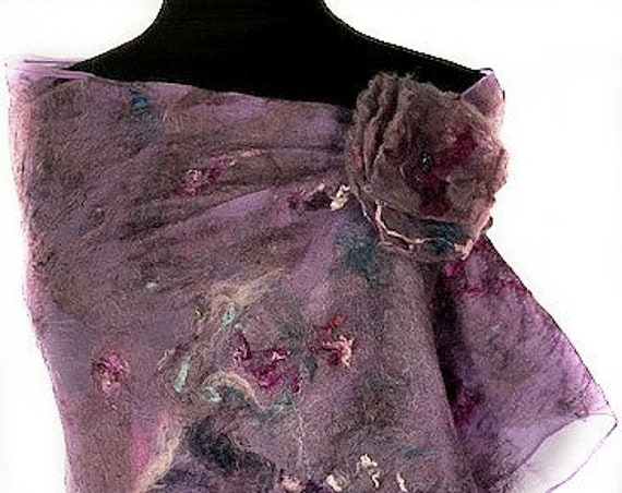 Purple Felted Wrap, Felted Scarf, Nuno Felted Scarf, GiftforHer, Purple Blue & Pink Wrap, Wedding Accessories, GracefulEweFiberArts, Royalty