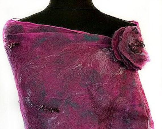Purple Felted Wrap, Felted Scarf, Multi-colored Shawl, Nuno scarf, Fashion Scarf, Gift for her, Wedding Accessories, Graceful Ewe Fiber Arts