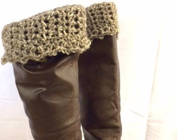 Boot Cuffs, Crocheted Leg Warmers, Boot Toppers, Sock Toppers, Earth-tone Brown Colors, Winter Accessories, Girls/Women's/Teens Gifts