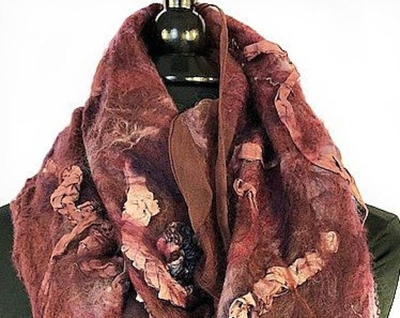 Burgundy Felted Wrap, Silk Felted Scarf, Multi-colored wrap, Nuno Scarf, Giftforher, Garden Wedding/Bridal Accessories, GracefulEweFiberArts