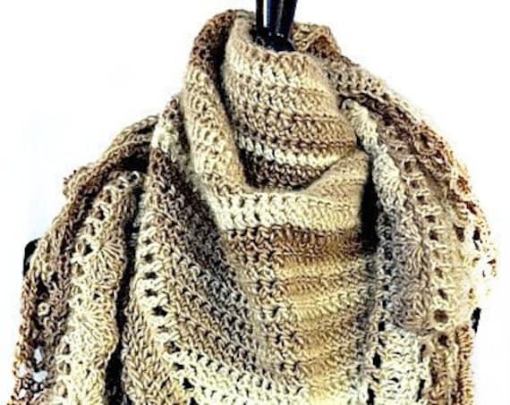 Crocheted Scarf, Crocheted Wrap, Crocheted Shawl, Wedding Accessories, Bridal Shawl, Coffee, Earthtones, Wearable Art, GracefulEweFiberArts