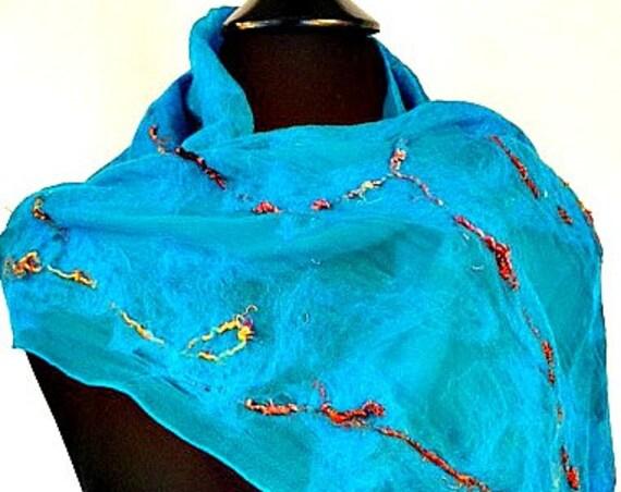 Felted Silk Scarf, Silk Nuno Felted Scarf, Fashion Scarf, Gift for her, Ocean Blue w/ silk Fringe, Silk & Wool, Graceful Ewe Fiber Arts