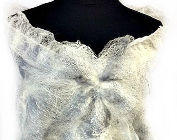 Bridal Scarf, Silk Felted Wrap, Bridal Shawl, Felted Wrap, Nuno Felted Wrap, Bridal Accessories, GiftsforHer, Lace Accessories, GracefulEwe