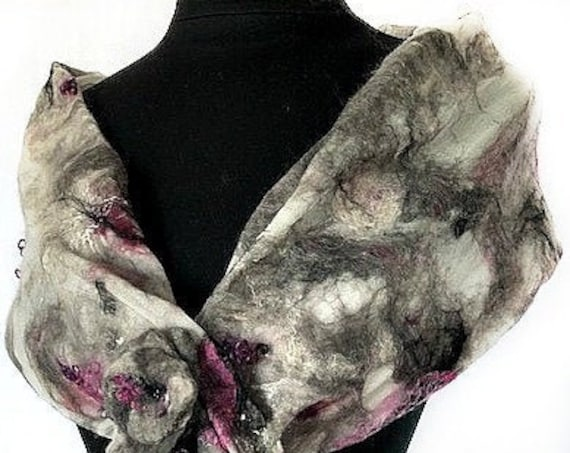 Gray White Pink Wrap, Felted Wrap, Felted Scarf, Wedding Accessories, Bridal Accessories, Gifts for Her, GracefulEweFiberArts: Intrigue