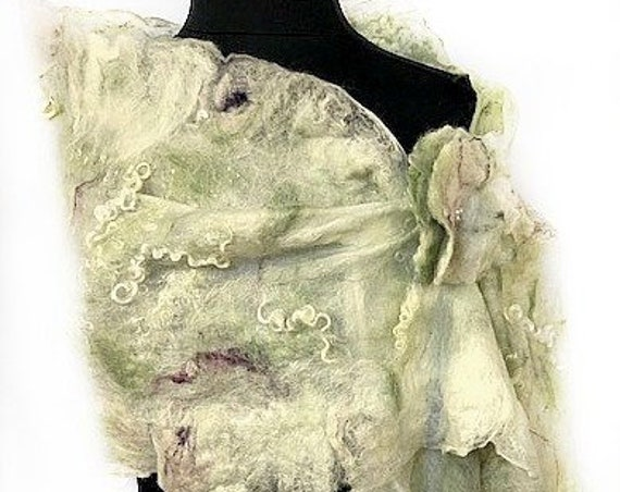 White & Green Victorian Style Felt Wrap, Felted Scarf, Nuno Shawl, Wedding/Bridal Accessories, Vintage, GracefulEweFiberArts:Peaceful Garden