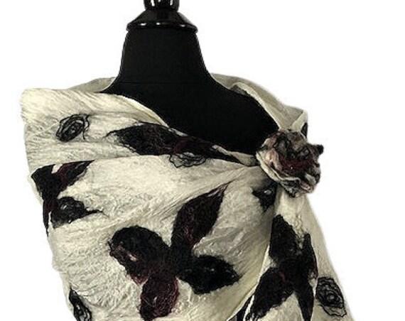 Black and White felted wrap, Felted Scarf, Nuno Scarf/Wrap/Shawl, GiftForHer, Wearable Art, Bridal/Wedding Accessories, GracefulEweFiberArts