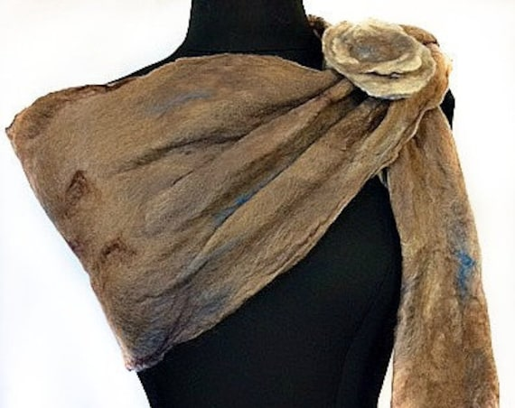 Earth tone Felted Scarf, Felted Wrap, Felted Shawl, Natural colored Shawl, Fall Fashion Accessories, Felted Scarf, Graceful Ewe Fiber Arts