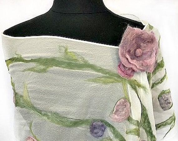 Pink & Lavender Felted Scarf, Flowered Felted Wrap, Nuno Felted Scarf, GiftForHer, Garden Wedding, GracefulEweFiberArts: Peaceful Garden