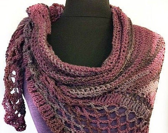Crocheted Wrap, Crocheted Shawl, Crocheted Scarf, Shades of purple w/ lavender highlights, Wearable Art, Gift for Her, GracefulEweFiberArts