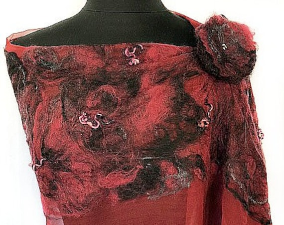 Burgundy Felted Wrap, Silk Felt Scarf, Black burgundy wrap, Nuno Scarf, Giftforher, Garden Wedding/Bridal Accessories, GracefulEweFiberArts