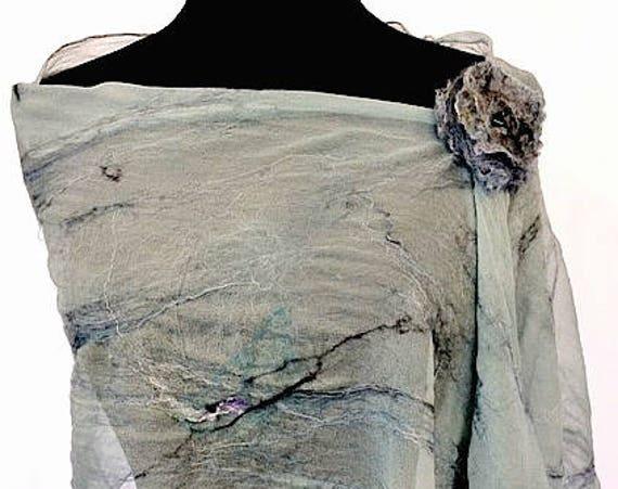 Bridal Wrap, Silk felted Wrap, Sea Foam Green Shawl, Fashion Accessories, Silk Scarf, GiftforHer, Wedding Accessories, GracefulEweFiberArts