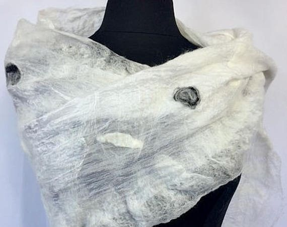 Felted Bridal Shawl, Felted Wrap, Nuno Wrap, Ivory & Black Bridal Shawl/Scarf/Wrap, Bridal Accessories, Beach Wedding, GracefulEweFiberArts