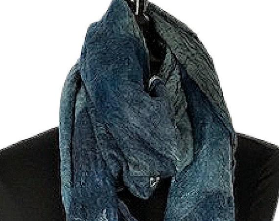 Denim Blue Felt Scarf, Blue Felted Wrap, Nuno felted scarf, Giftforher, Wedding/Bridal accessories, GracefulEweFiberArts, Blue Jean Baby