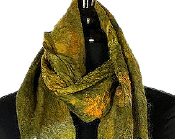 Chartreuse Felted Scarf,  Felted Wrap, Multi-colored scarf, Nuno felted scarf, Giftforher, Wedding/Bridal Accessories, GracefulEweFiberArts