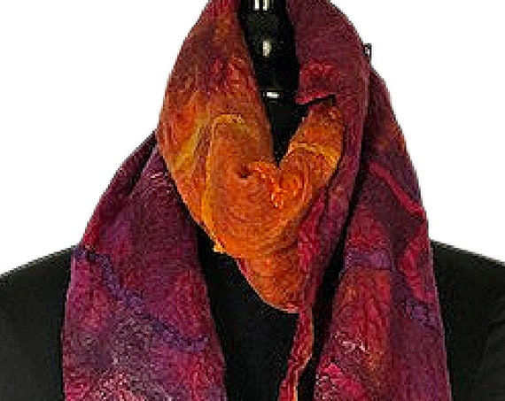Purple Orange Felted Wrap, Nuno Felt Scarf, Felt Wrap, Bridal/Wedding Accessories, Beach wedding, Graceful Ewe Fiber Arts: Tropical Sunrise