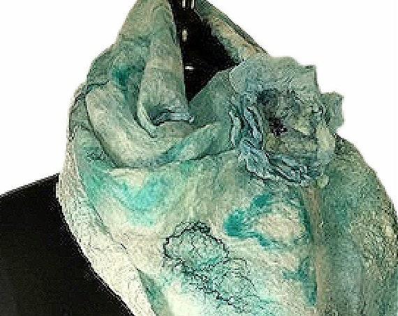 Caribbean Green Felted Wrap, Nuno Scarf, Nuno Wrap, Tropical colors, Beach Bridal/Wedding Accessories, Garden Wedding, GracefulEweFiberArts