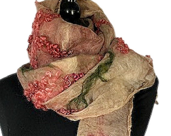 Vintage Style Felted Scarf, Nuno Wrap, Silk Felt Wrap, Felted Shawl, Wedding Wrap, Bridal Wrap, Pink/Burgundy & Tan, GracefulEweFiberArts