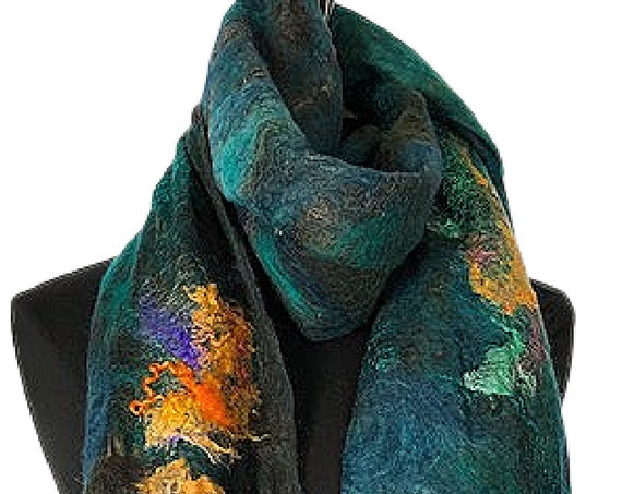 Teal Felted Wrap, Felted Scarf, Nuno Scarf, Fashion Accessories, Wearable Art, Bridal/Wedding Accessories, Colal Reef, GracefulEweFiberArts