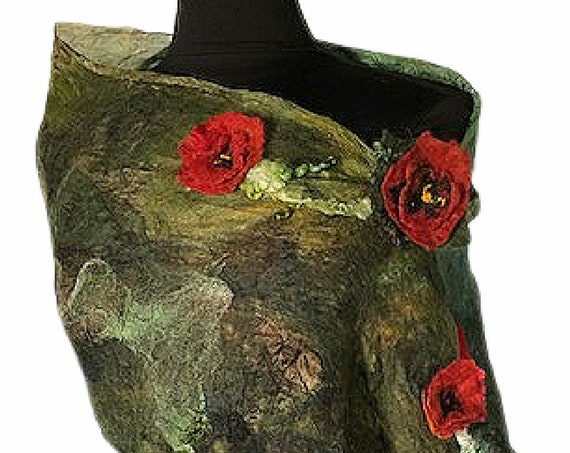 Poppy Flowers Felted Scarf, Felted Scarf, Gift for Her, Red & Black Scarf, Floral Scarf, Wedding Accessories, GracefulEweFiberArts: Poppies