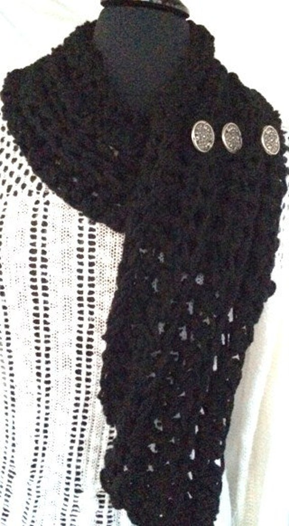 Crocheted Black Cowl Scarf, Infinity Scarf, Women's Cowl, Crocheted Cowl/Vest, Women's Accessories, Buttoned cowl, Chunky Sc...