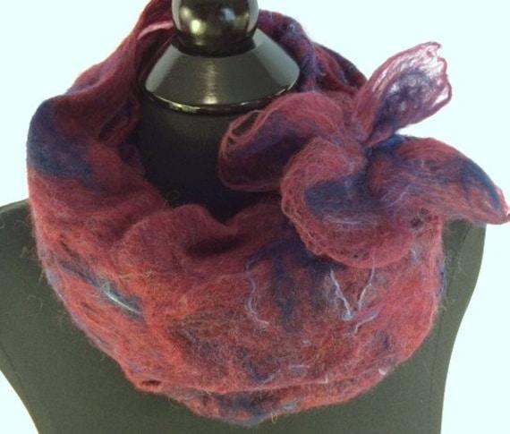 Cobweb Scarf, Felted Cobweb Scarf, Long Wool Scarf, Wool, Burgundy/Deep Red+Navy Blue, Handmade scarf, Graceful Ewe Fiber Arts, Accessories