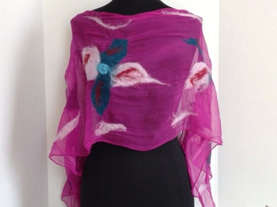 Felted Scarf, Silk Scarf, Felted Silk Scarf, Wool & Silk, Fuchsia/Pink, Gift, Graceful Ewe Fiber Arts, Light Scarf: Fuchsia Pink ...