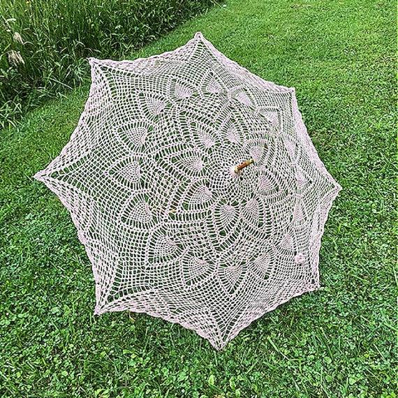 Rose crocheted parasol, Dusty Rose Wedding parasol, RoseGold umbrella, Vintage style parasol, Wedding/Bridal accessory, GracefulEweFiberArts