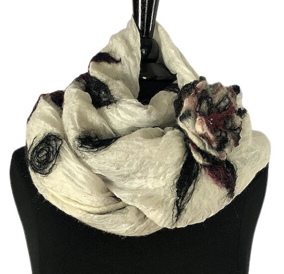Black and White felted wrap, Felted Scarf, Nuno Scarf/Wrap/Shawl, GiftForHer, Wearable Art, Bridal/Wedding Accessories, GracefulEweFiberArts
