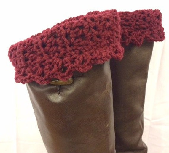 Boot Cuffs, Crocheted Leg Warmers, Boot Toppers, Sock Toppers, Burgundy Wine Color, Winter Accessories, Girls/Women's Gifts, Gifts for Teens