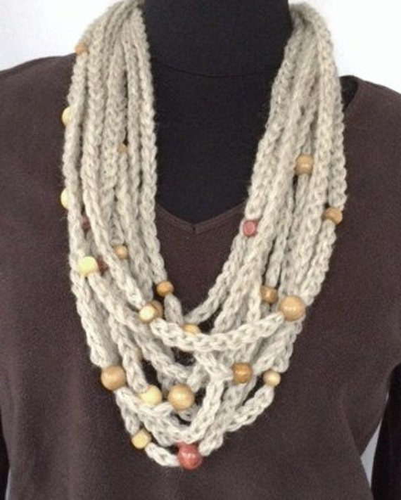Beaded Infinity Scarf, Infinity Rope Scarf, Crocheted Women's Beaded Cowl, Beaded Cowl, Women's Accessories, Brown Beaded Rope N...