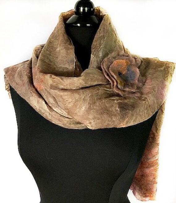 Earthtone felted scarf, Tan & peach felted wrap, Nuno wrap, Bridal and Wedding accessories, GiftforHer, GracefulEweFiberArts: Down to Earth