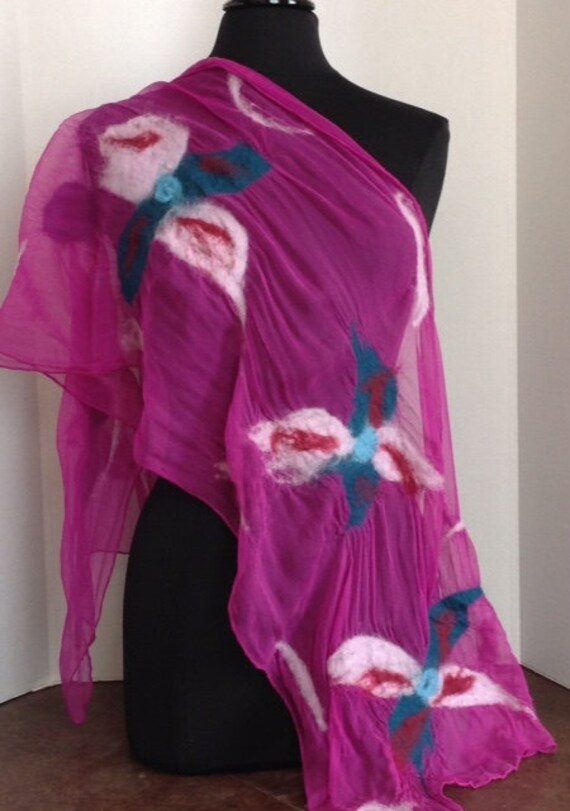 Felted Scarf, Silk Scarf, Felted Silk Scarf, Wool & Silk, Fuchsia/Pink, Gift, Graceful Ewe Fiber Arts, Light Scarf: Fuchsia Pink ...
