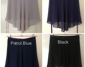 Ballet Skirts, Wrap skirt, Chiffon skirt, Rehearsal skirt - Single colours : Grey / Black Shades