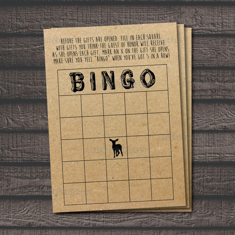 Printable file Kraft Paper background Shower Game Woodland Animal Theme Rustic Shower Bingo