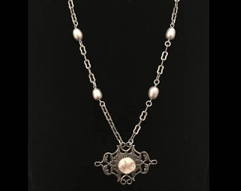 """Real human tooth necklace w/ real fresh water gray pearls // silver vintage chain // Victorian style necklace // human tooth pendant // 20"""""""